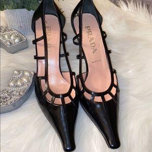 Prada Black Pointy Toe Dress Up Shoes Size 39